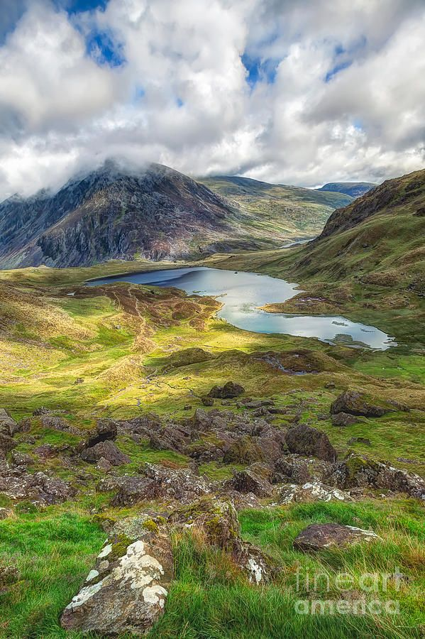 ✯ Llyn Idwal is a small lake that lies within Cwm Idwal in the Glyderau mountains of Snowdonia - North Wales, UK  Love it! Haven't seen it in sun many times though.