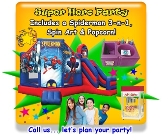 Super Hero Party Package...Get our Spiderman Inflatable 3n1 Bounce House Combo with a Slide, a Fun Food Concession & a Carnival Game. This package available for rent in Metro Atlanta. Available from ASTRO JUMP - ATLANTA