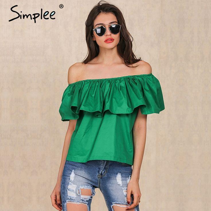 Simplee apparel kapalı seksi slash boyun ruffles kadınlar tees tops omuz plaj yaz tarzı tops Kadın bluzlar gömlek parti tüp üst
