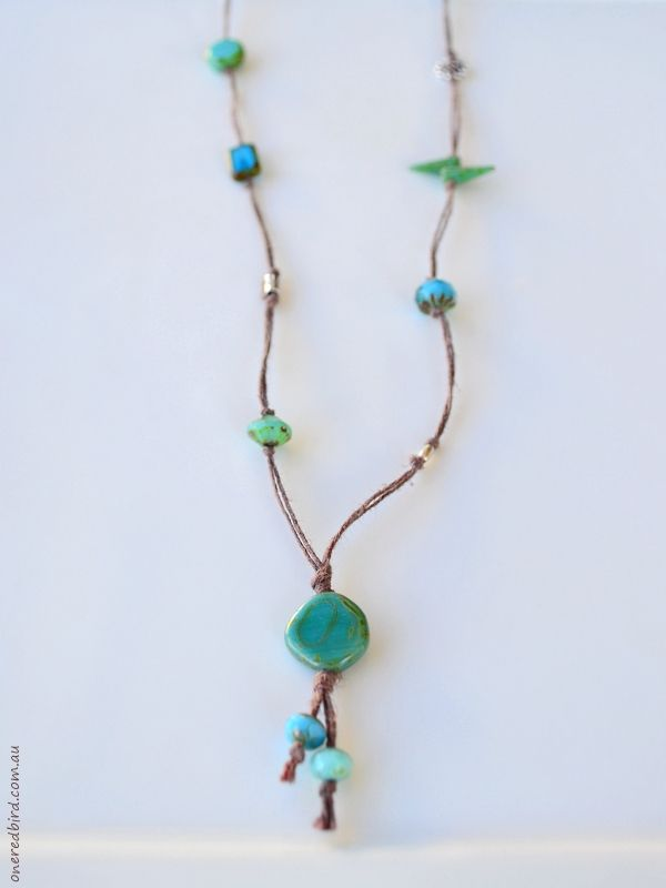 Turquoise green and blue cord necklace ~ Czech glass & sterling silver on brown hemp