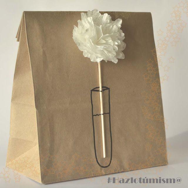 flower, paper bag