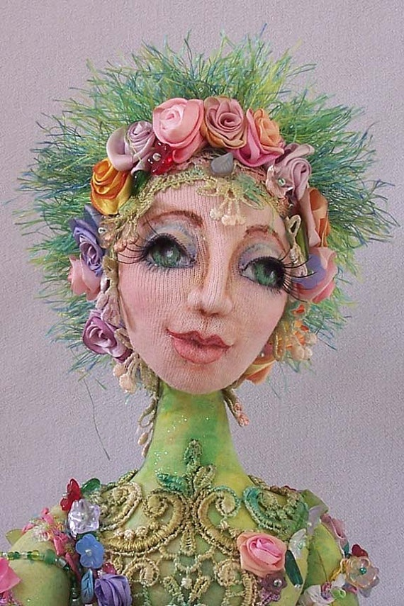 Petal and Friends OOAK Art Doll Hand Beaded by Novasblossoms, $225.00