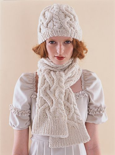 Vogue Knitting, Winter 2007/08 Ravelry: #12 Cabled Scarf and Hat pattern by Tanis Gray