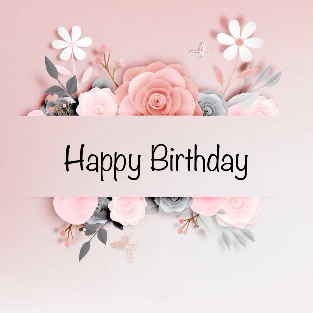 Happy Birthday Pink White Grey Flowers Pink Background Happy