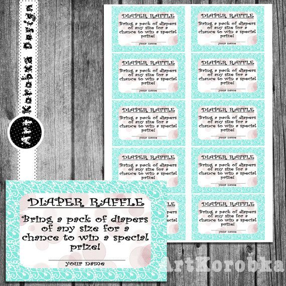 Printable  Diaper Raffle Tickets  Mint and White  by Artkorobka