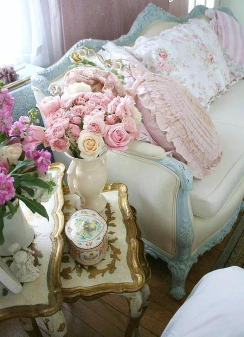 shabby Florentine table and sofa