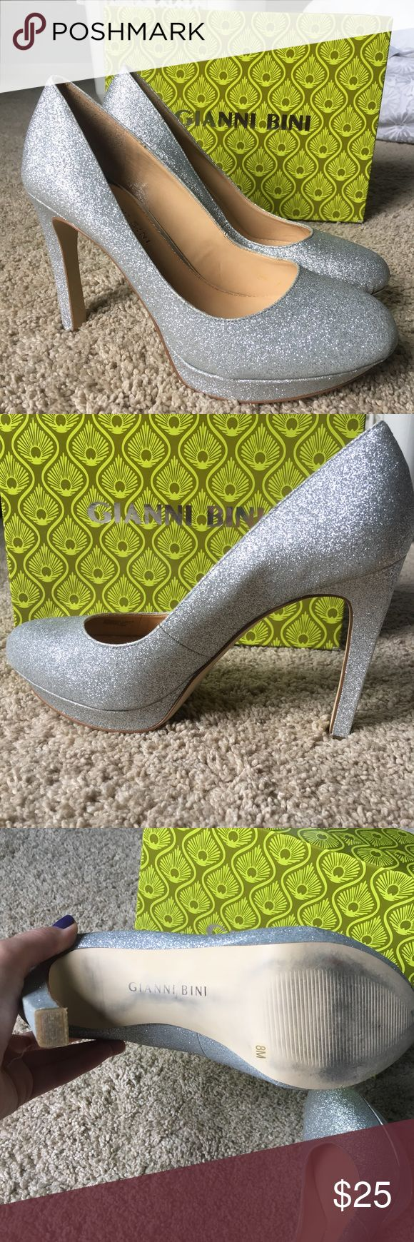 Gianni Bini silver sparkle heels Cute closed-toe heels gently used (only worn twice). Size 8M. Scuffs only on bottoms of the shoe. Gianni Bini Shoes Heels