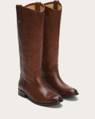 Womens-Frye-Boots-Melissa-Button-Cognac-Tan-Riding-Style-77167-COG