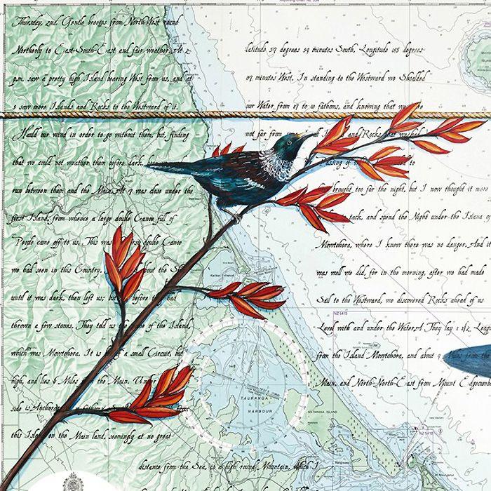 Close up of Tauranga art print by Justine Hawksworth
