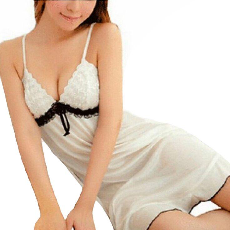 Fancy New Women Sexy White Nightwear Lingerie Lace Babydoll Sleepwear Spaghetti Strap Crochet Costume Erotic Lingerie L3
