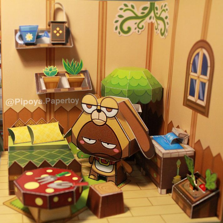 Ever think of farming in your bedroom? Only JiPo does :3 Papertoy PiPoYa cute Gift and craft