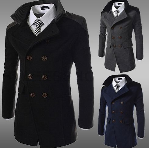 Outerwear Type: Wool & Blends Gender:Men Cuff Style:Conventional Clothing Length:Regular Closure Type:Double Breasted Fabric Type:Woolen Collar:Mandarin Collar Sleeve Length:Full Style:Fashion Lining