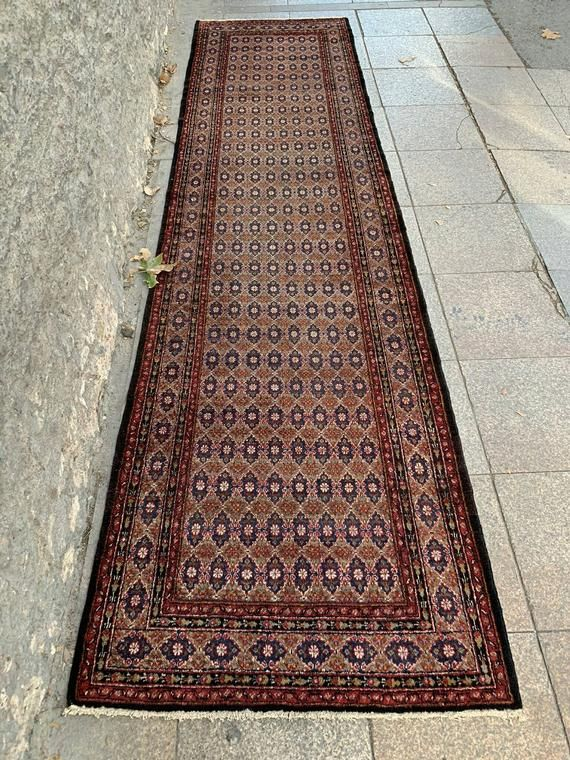 3 1x11 11 Feet Free Shipping Different Brown Tones Village Runner Dark Blue And Brown Rug Runner Vintage Rug Runner Carpet Number E582 With Images Vintage Carpet Carpet Handmade Carpet