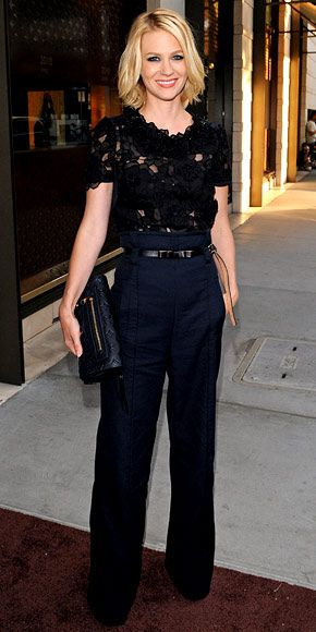 January Jones    WHAT SHE WORE    Jones hosted a Louis Vuitton event in high-waist trousers and a floral lace top from the design house.