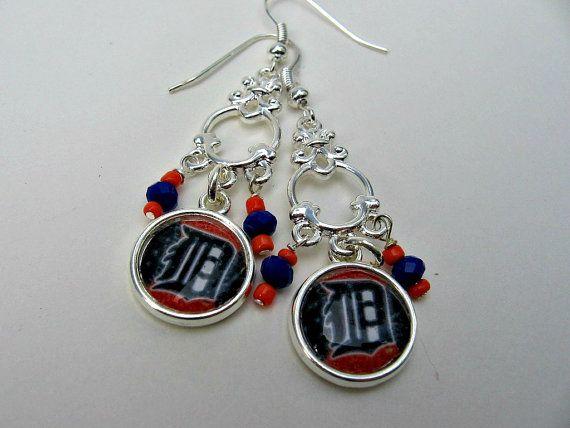 MLB Detroit Tigers Baseball Earrings by Sports Jewelry Studio on Etsy.  $16.50.  etsy.com/shop/sportsjewelrystudio