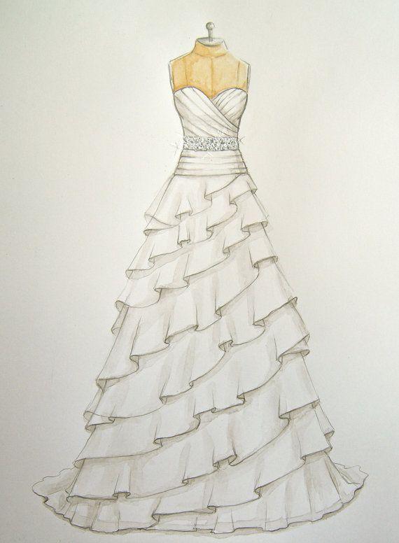 Custom Wedding Dress Illustration/sketch (on dress form) (wedding and anniversary gift)- fashion illustration- www.foreveryourdress.com