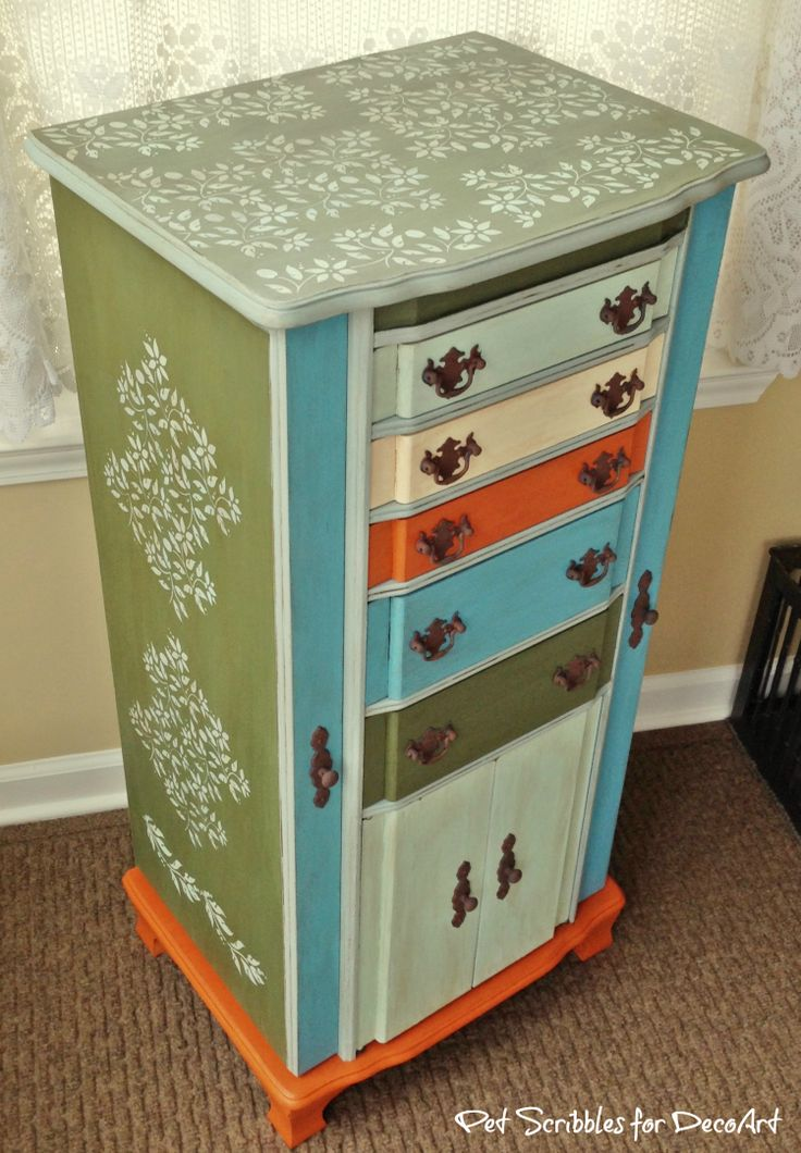 Vintage Jewelry Armoire Makeover with Paint and Stencils. 536 best Painted   Stained Furniture DIYs images on Pinterest