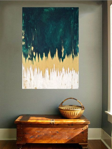 LARGE ORIGINAL abstract painting, acrylic paint,emerald green painting, gold paint, chevron painting, abstract expressionist art