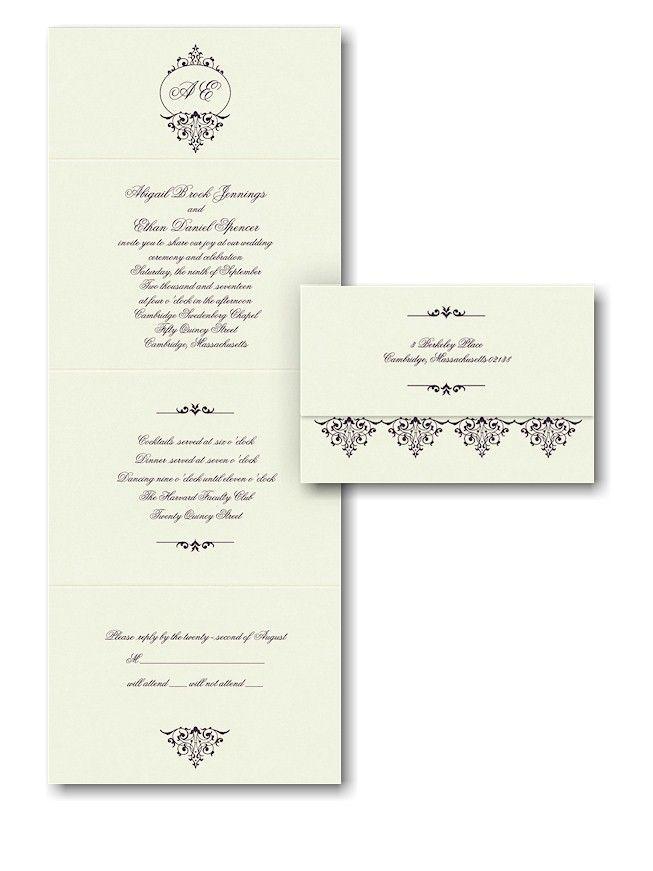 filigree frame seal n send wedding invitation - Seal And Send Wedding Invitations
