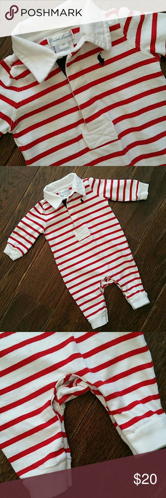 Ralph Lauren nautical jumpsuit. 3 mos. A super cute red and white striped nautical collared jumper 100% cotton made by Ralph Lauren Ralph Lauren One Pieces