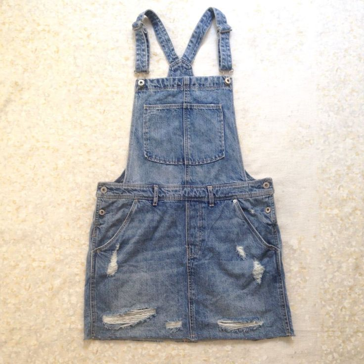 & Denim Overalls Mini Dress Distressed Destroyed Pockets Size 10 Women  #Denim #OverallDress #Casual