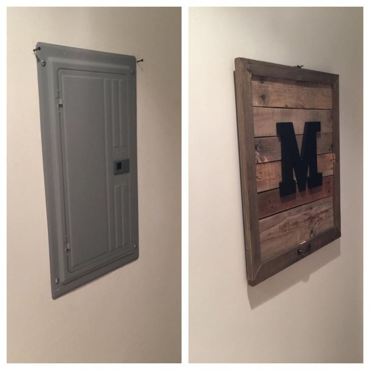 Pallet Monogram Electrical Box Cover Add Key Hooks If By The Door!