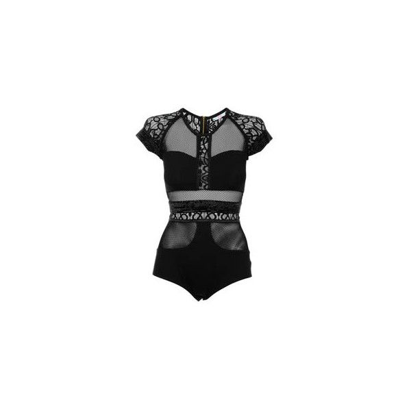 Sass & Bide panelled lace body ($180) ❤ liked on Polyvore featuring intimates, shapewear, tops, bodysuits, dresses, body, lingerie and women