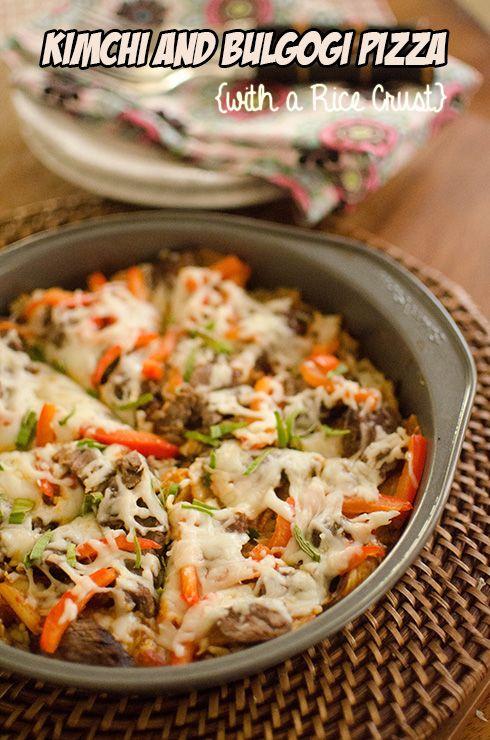 Kimchi & Bulgogi Pizza with a Rice Crust via Heart Mind & Seoul