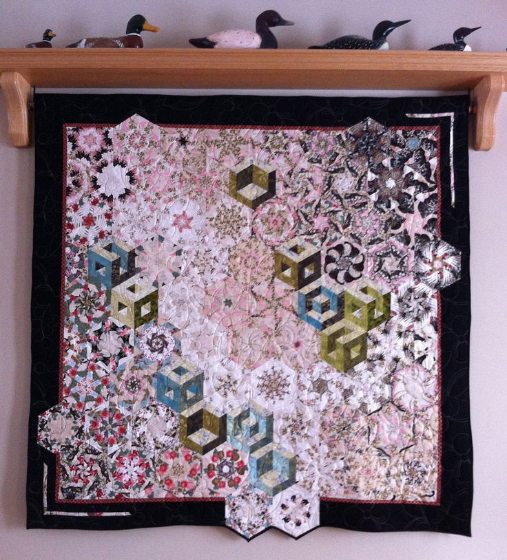 One Block Wonder Art Quilt Wallhanging Lap Quilt by MagpieQuilts