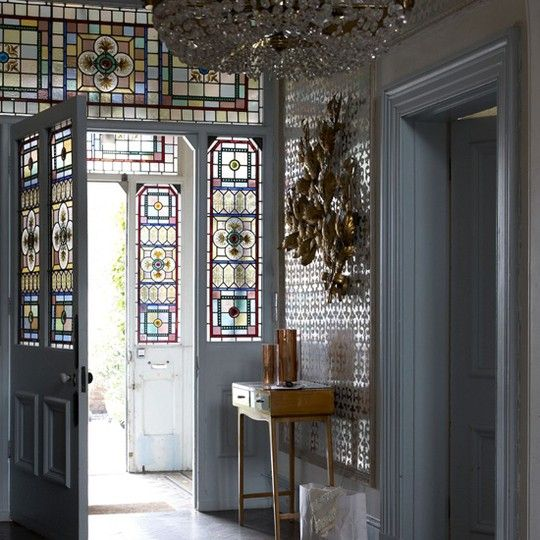 Beautiful Glass Entrance. Hall Way. Stained Glass. Front Door. Interiors. www.tradescantandson.com