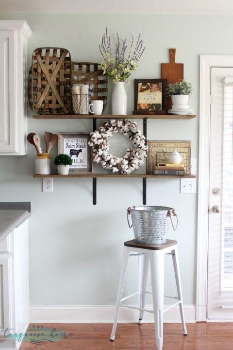 decorating shelves in a farmhouse kitchen kitchen inspiration rh pinterest com