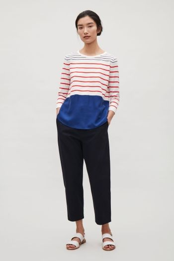COS image 1 of Knitted top with silk panel in Navy