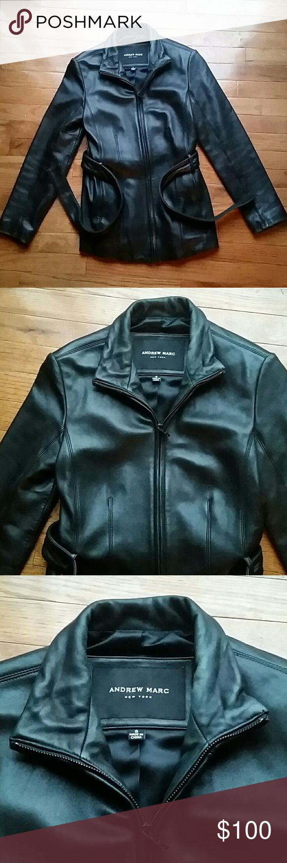 Leather jacket Andrew Marc black leather jacket size small with belt. Andrew Marc. Wear shown on inside of collar wear crease folds and pull on some interior lining by inside tag as in last 2 pictures. Andrew Marc Jackets & Coats Utility Jackets