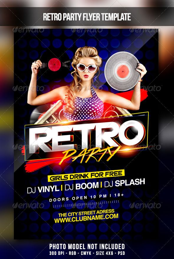 Retro Party Flyer | More Party flyer and Retro party ideas