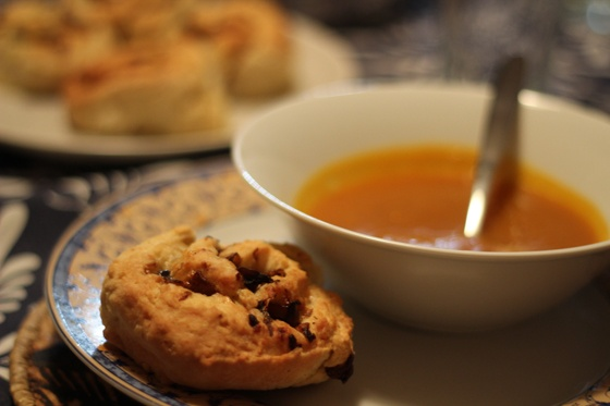Roast pumpkin and garlic soup w/caramelized onion, mushroom and pinwheel cheese scones