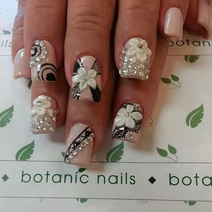 Beautiful nude and black nails with 3-D flowers!