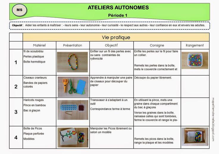 Ateliers autonomes type Montessori - Période 1 MS