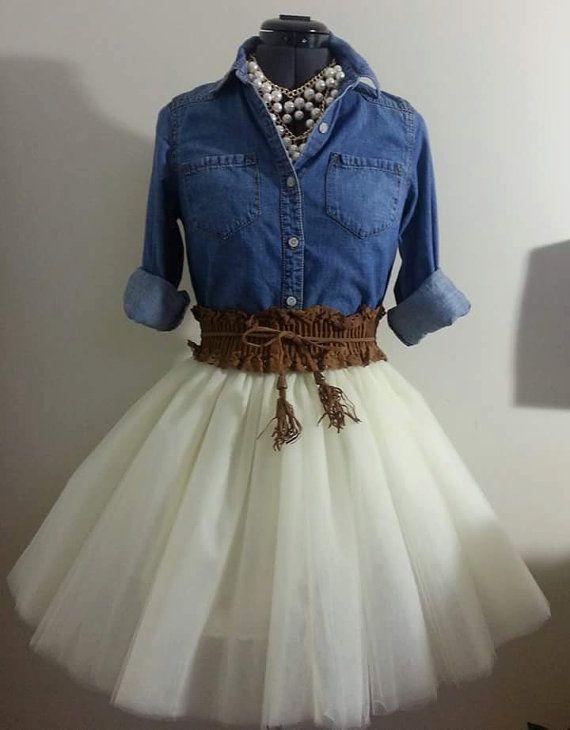 Custom Made Adult Ivory Tulle Tutu Style Skirt by JoanneHandmade