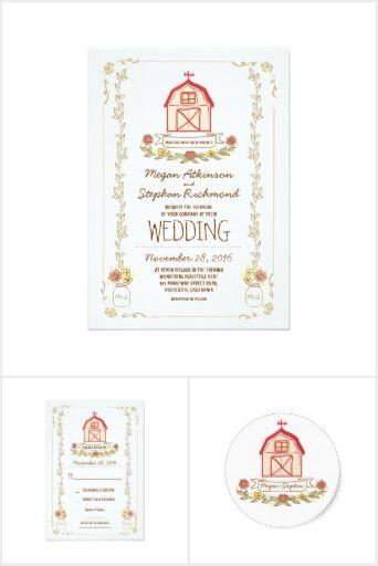 Whimsical Barn Wedding Invitation Set