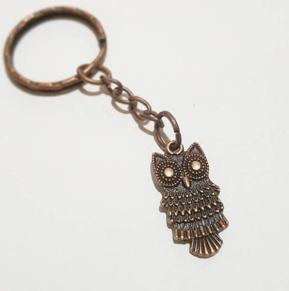 Antique Copper Tone Owl keychain, Animal key ring, keyring gift for him gift for her for children cute keychain Animal keychain