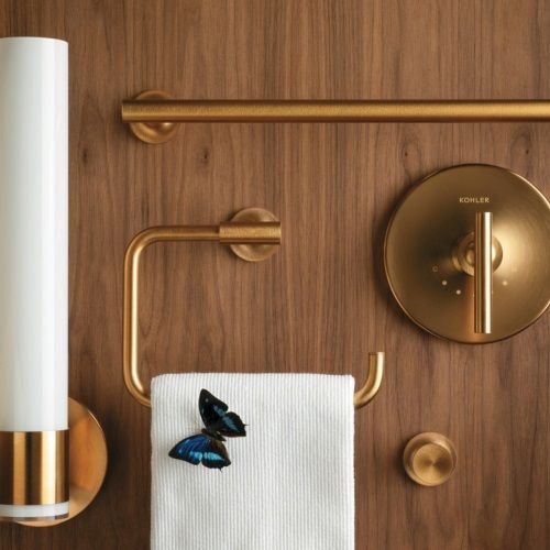 Excellent Shop KOHLER Purist Vibrant Moderne Brushed Gold Wall Mount Towel Ring
