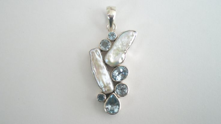 Handmade Silver Pendant with Natural Pearls and Aqua Marines by IoJewellery on Etsy