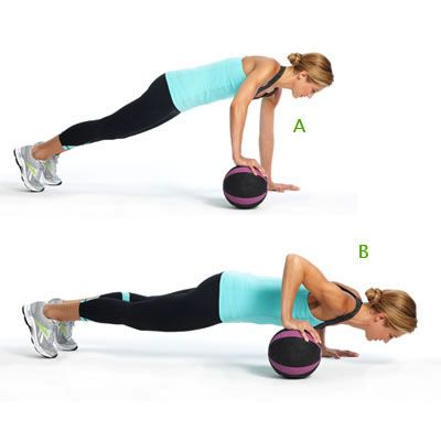 This is something we do in boot camp. Love this exercise. Roll-the-ball with uneven push-up.