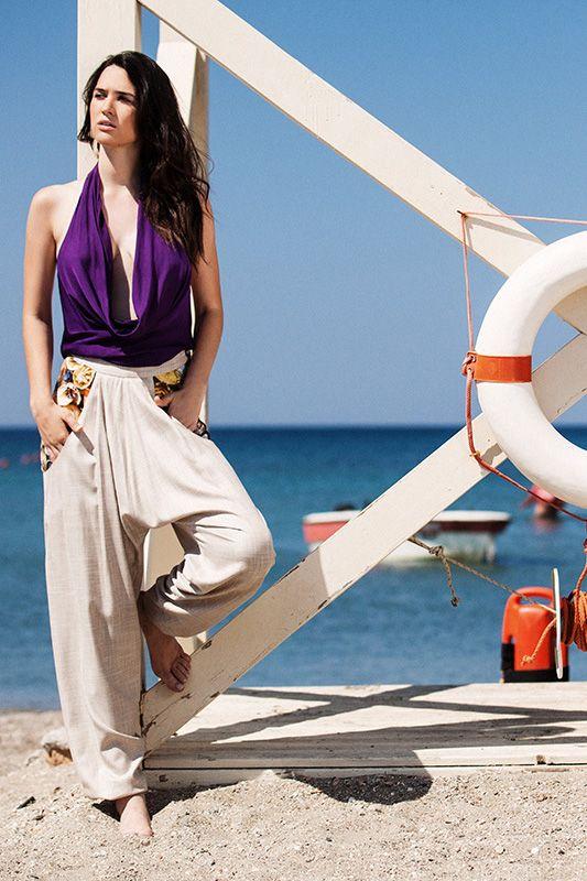 Purple drape bamboo top (TSS152A) / Sand harrem bamboo pants with digitally printed pockets (PSS154B) Menesthò visit www.menestho.com to pre-buy #menestho #ethical #sustainable #fashion #resortwear #ss15
