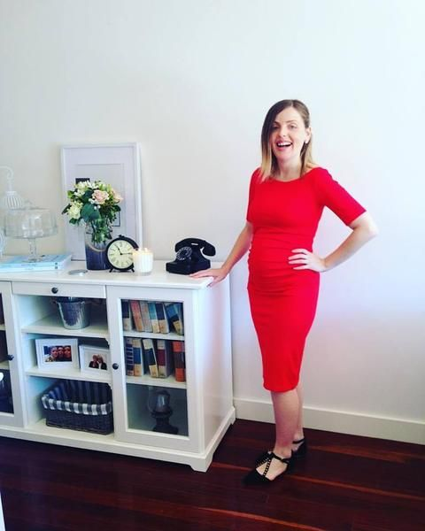 The Madeline pencil dress is a new style from Two Hearts Maternity. It has a stunning boat neck and just above elbow sleeves. It conceals and accentuates all th