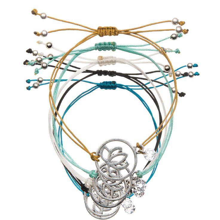 5 pcs/lot Simple Yoga Bracelet Lotus Buddha Yoga Zircon Charms Pendants Braided Rope Bracelets Yoga Reiki Jewelry Unisex Gift