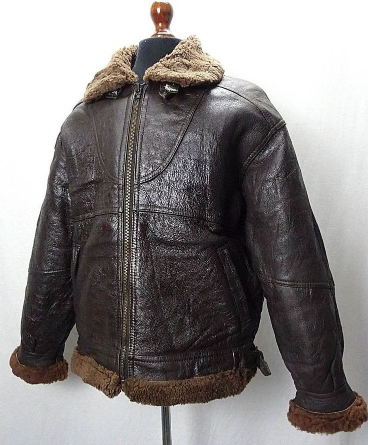 Vintage Sheepskin Black B3 Bomber Jacket Flying Pilot Aviator Coat 42R KB106