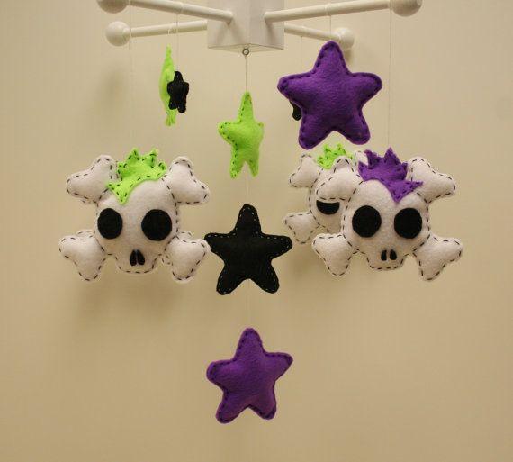 Mohawk Skull & Stars Felt Baby Mobile by SleepyLittleLamb on Etsy, $65.00