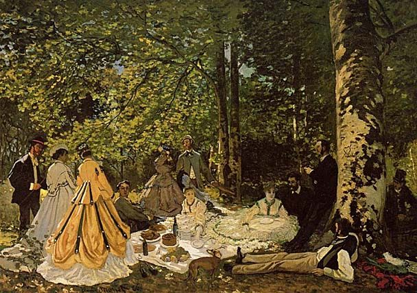"""Dejeuner sur l'herbe"" by Claude Monet c. 1865. This was one of Monet's few figure paintings. He later gave up painting figures to concentrate on landscapes."