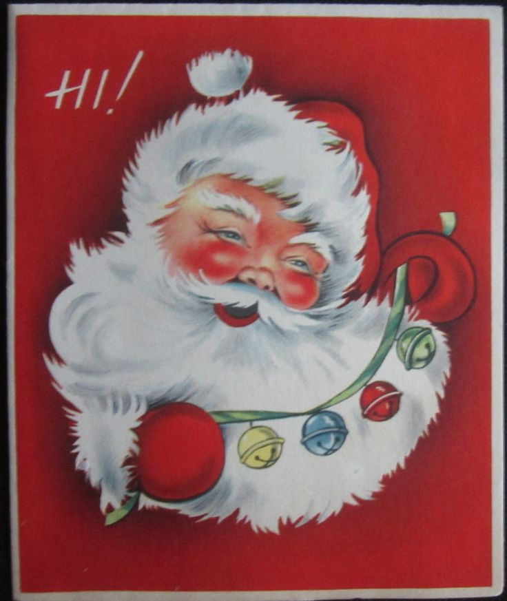 Vintage Christmas Greeting Card Hi Smiling Santa and Bells Mid Century